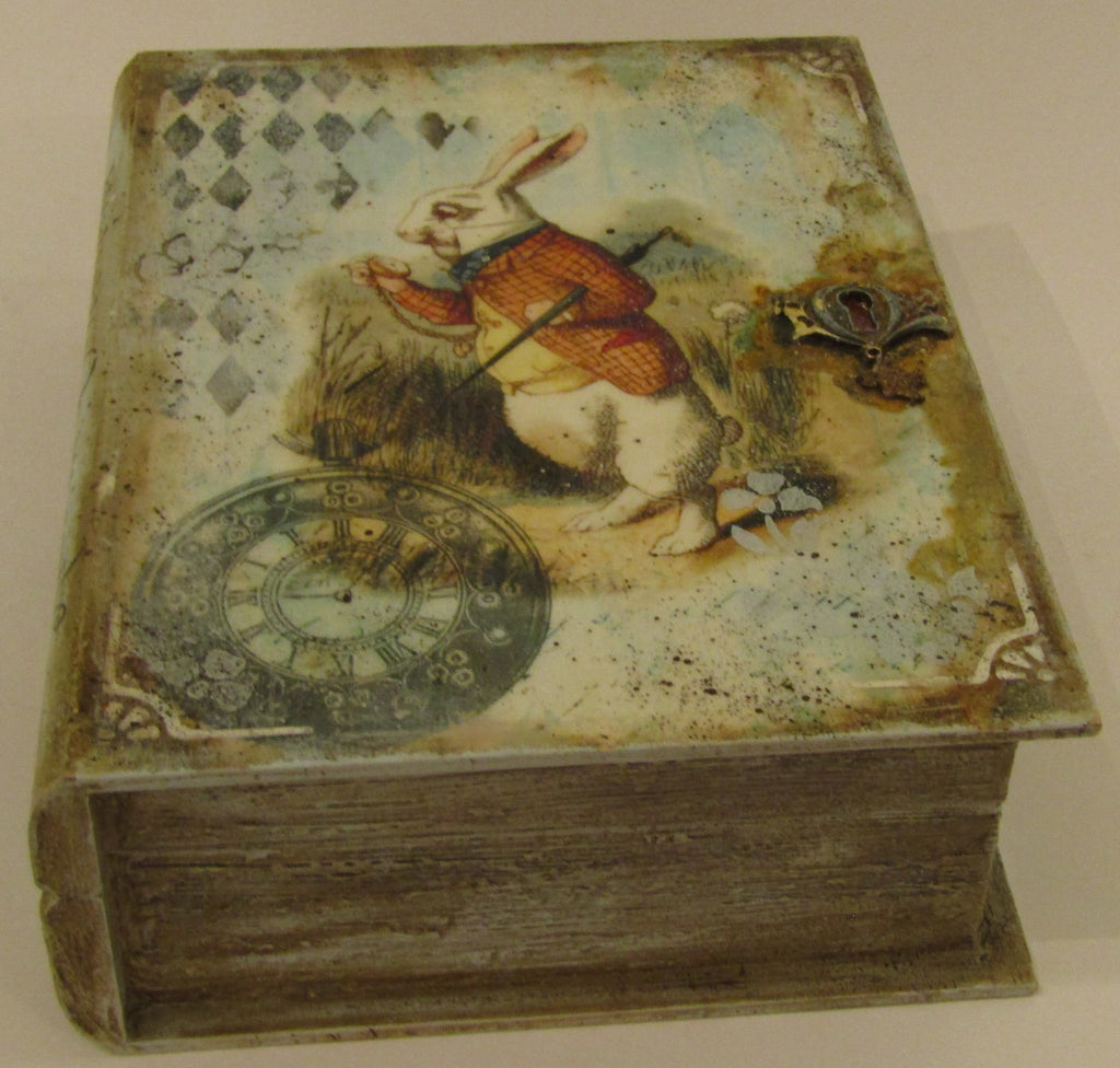 White Rabbit decorated Wooden Box by Monika Maksym