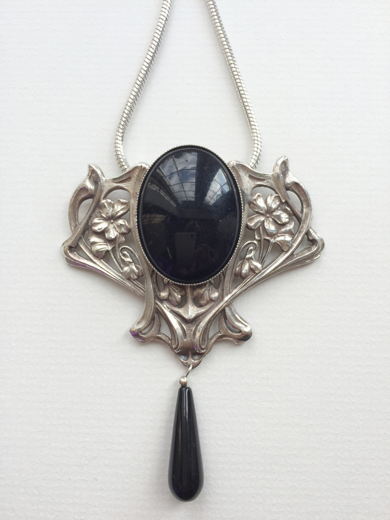 Large Decorative Necklace with Black Oval Stone and Stone Drop by Jess Lelong