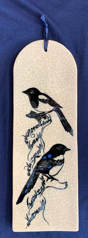 "Arch Shaped with Magpie Design Ceramic Tile ""When we have each other we have everything"""