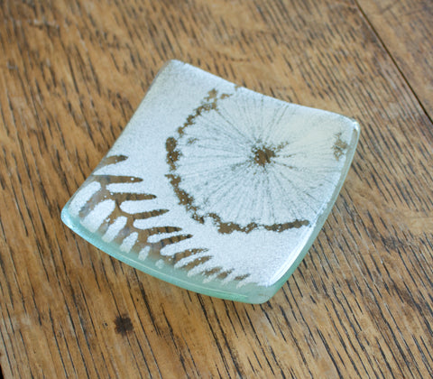 Glass Ring Dish. White with Plant Silhouettes by Verity Pulford