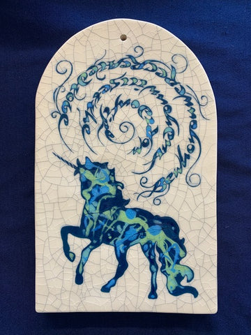 "Arch, Unicorn, Hand-Crafted Tile - ""Be Who You Are Created To Be..."" by Mel Chambers"