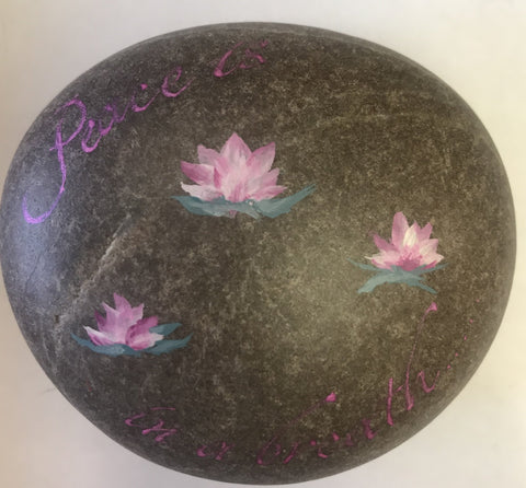 """Peace is in a breath....."" Hand Painted Stone"