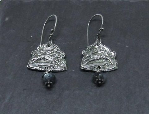 Hare Earrings - Engraved Silver with Labradorite