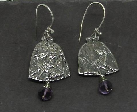 Fox Earrings - Engraved Silver with Amethyst Drops