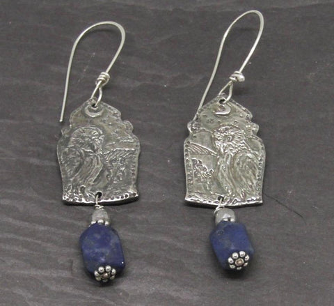 Owl Earrings - Engraved Silver with Lapis Lazuli and Labradorite
