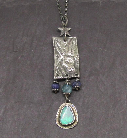 Cornfield Hare Pendant with Blue Opal
