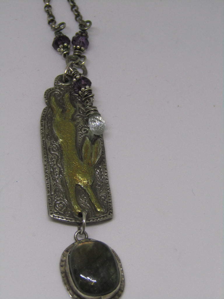 Gilded Hare Pendant with Labradorite Drop by Hannah Willow