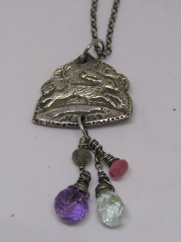 """Wild Hare"" - Silver Running Hare Pendant with Amethyst, Aquamarine and Pink Sapphire"
