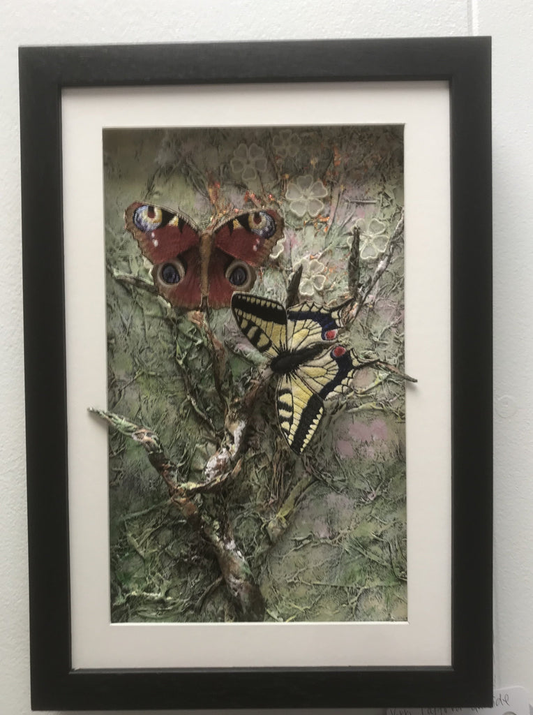 Two Framed Textile Butterflies by Vikki Lafford