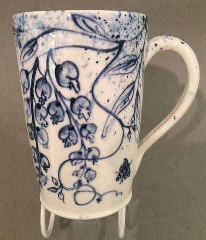 Wisteria Design Mug, Hand Painted Porcelain by Mia Sarosi