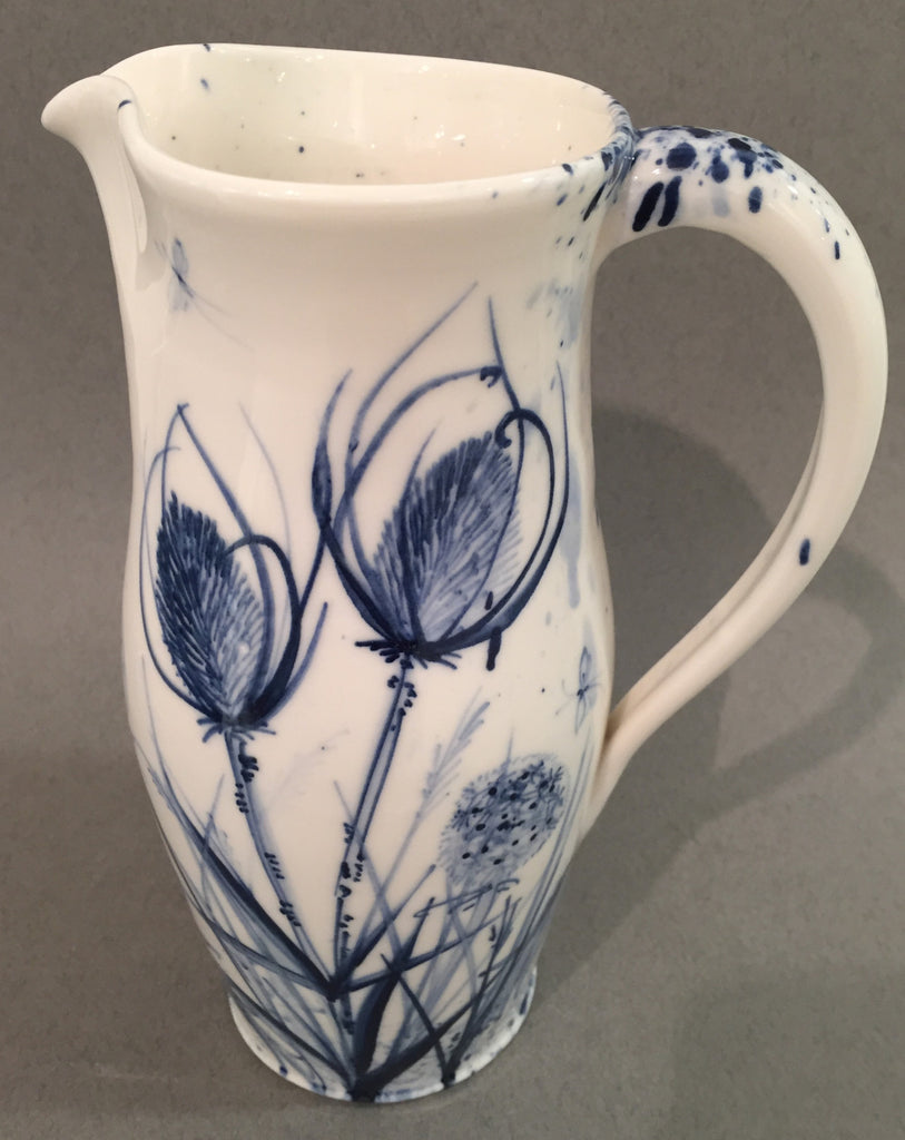 Thistle Design Large Jug, Hand-thrown and Hand-Painted Porcelain by Mia Sarosi