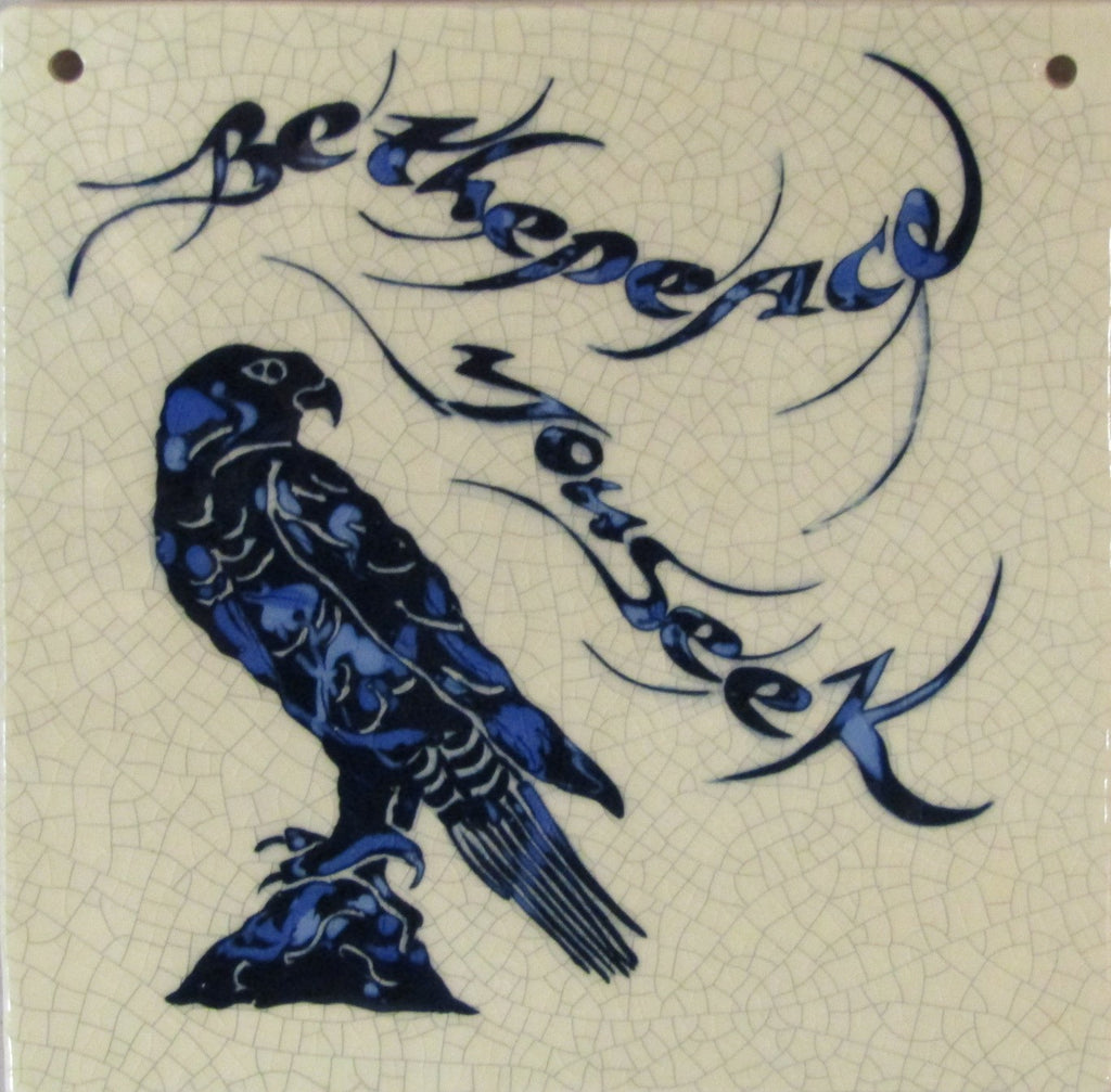 "Large Ceramic Hawk Tile ""Be the Peace you Seek"" by Mel Chambers"