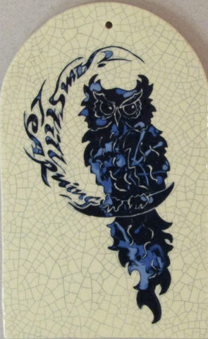 "Arch Shaped Ceramic Owl Tile ""I Am Still Learning"""