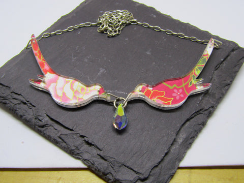 Birds Holding Crystal Design Reversible Necklace