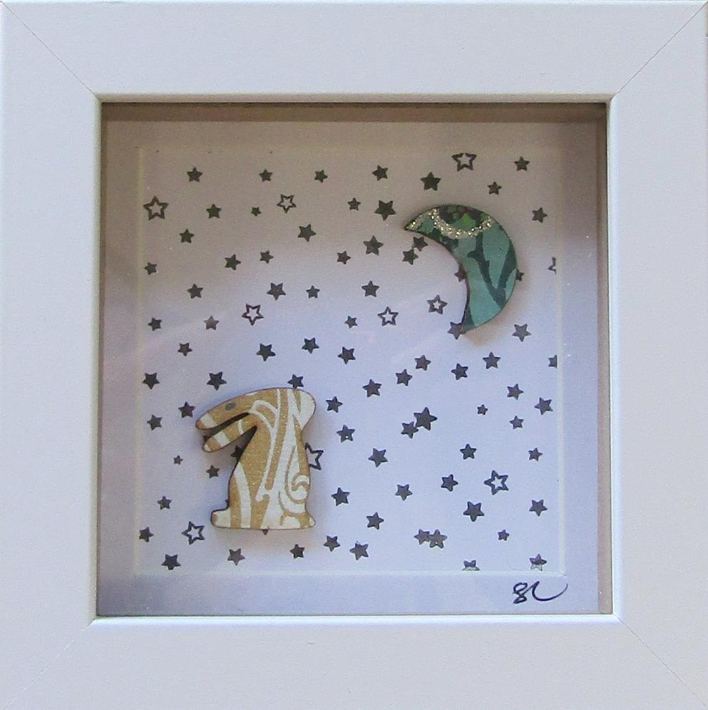 Hare & Moon - Framed Assemblage by Sophie Court