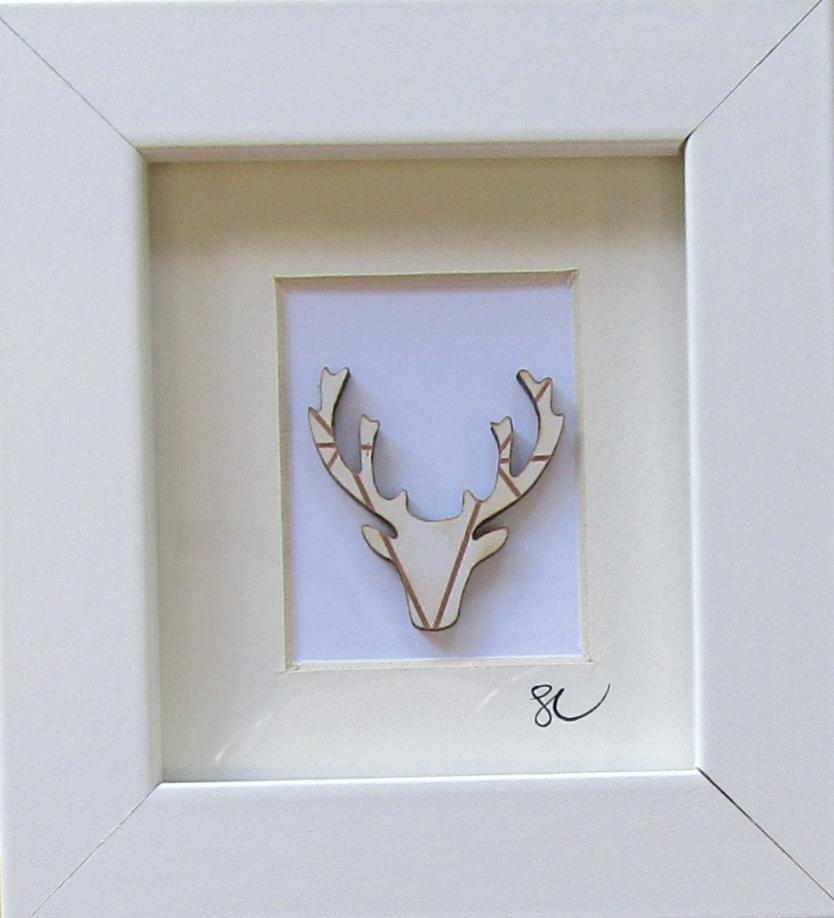 Stag head - Framed Assemblage by Sophie Court