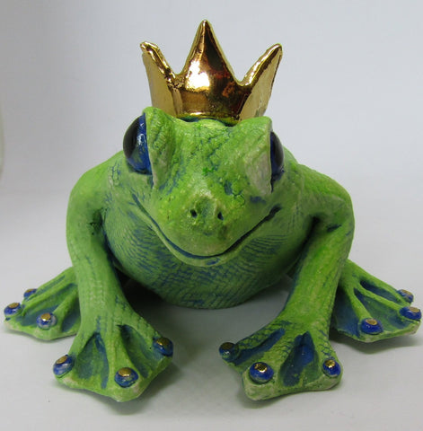 Frog with Crown - Hand-Built Ceramic Sculpture