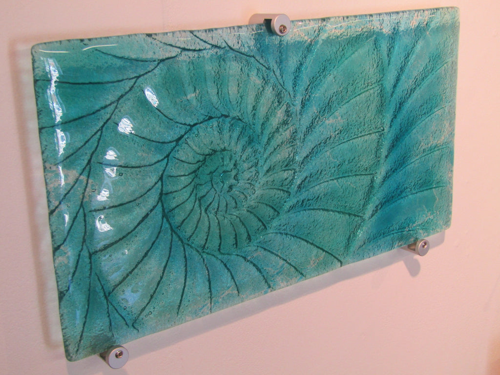 Ammonite Fused Glass Panel - Medium Landscape by Matthew Adkins