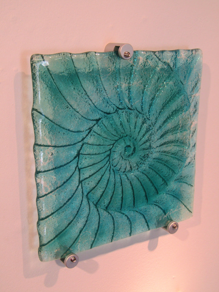 Ammonite Small Square Fused Glass Panel by Matthew Adkins