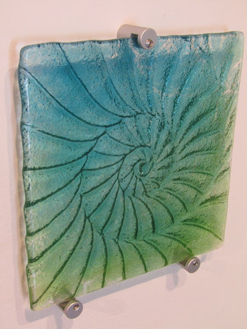 Ammonite Small Square Fused Glass Panel