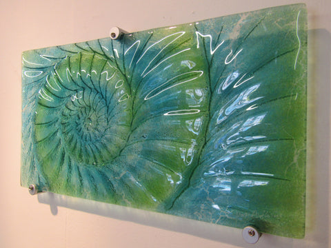 Ammonite Fused Glass Panel - Medium Landscape