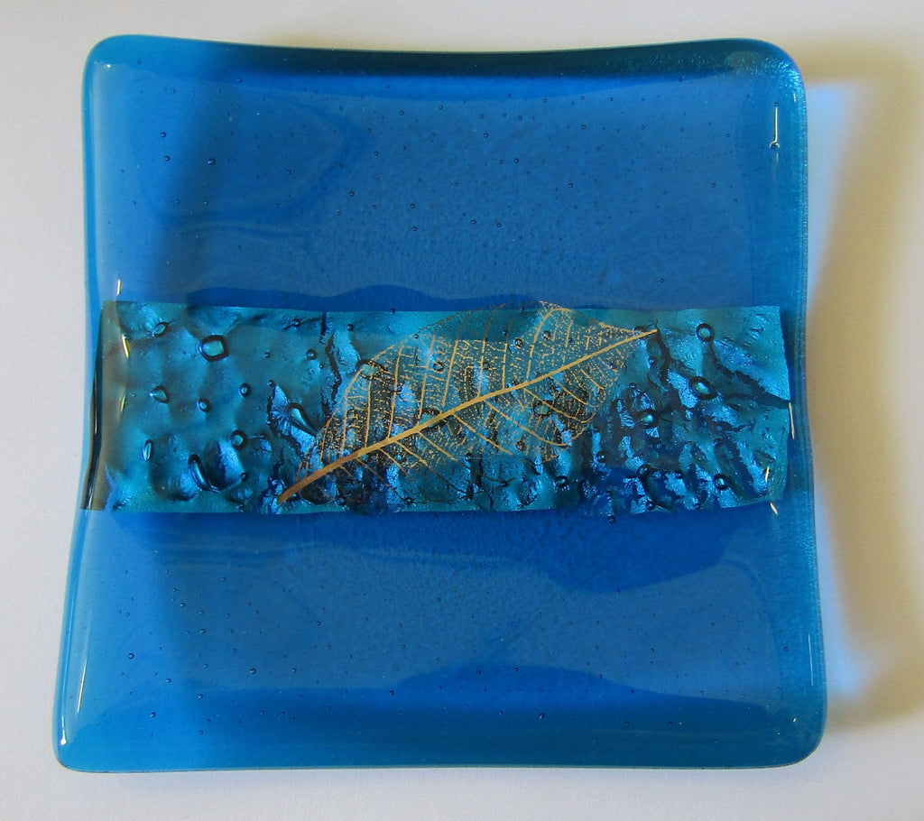 Turquoise Small Dish with Silver Leaf