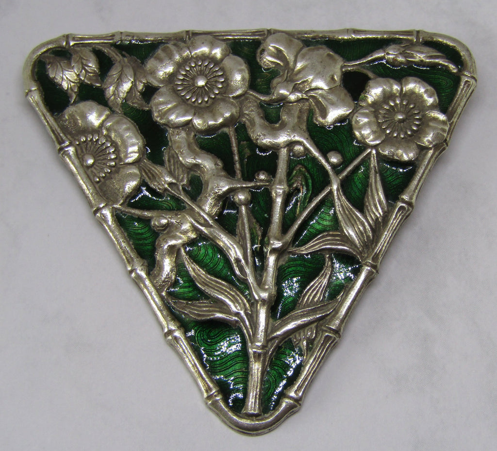 Triangular Floral Green Enamel Brooch by Jess Lelong