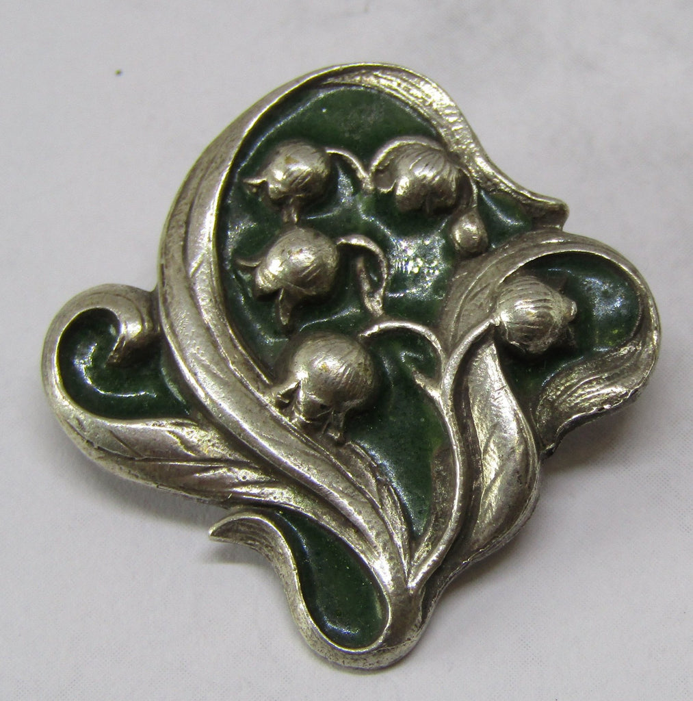 Lily of the Valley Green Enamel Brooch by Jess Lelong