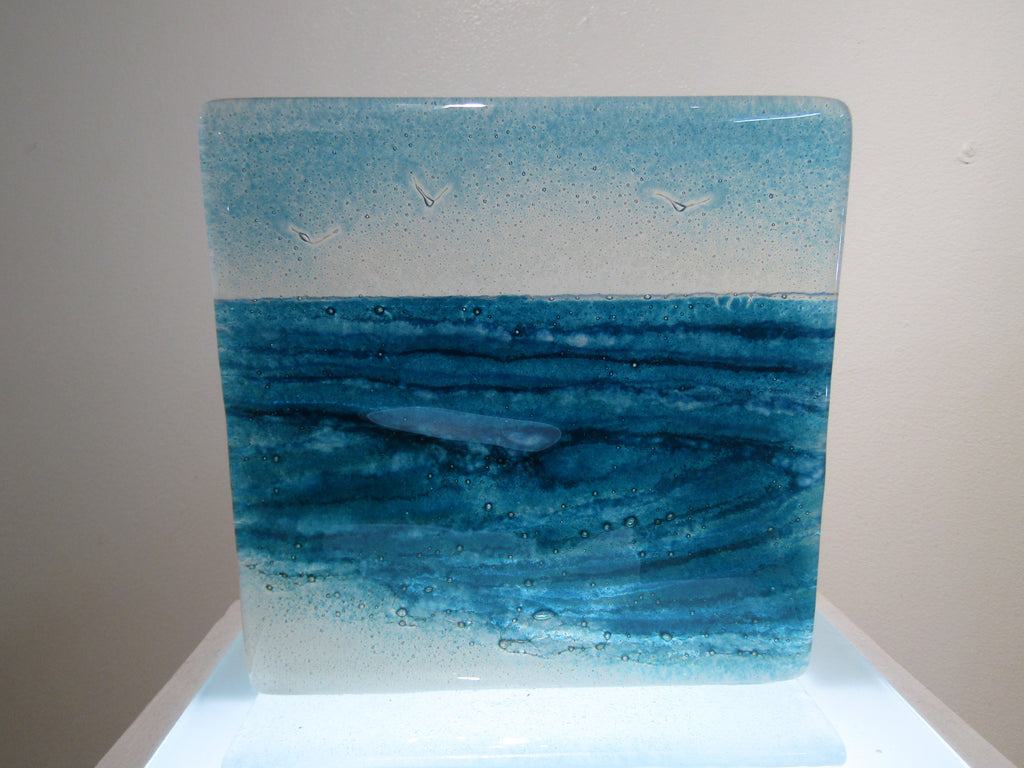 Small Wave Panel - fused glass by Matthew Adkins