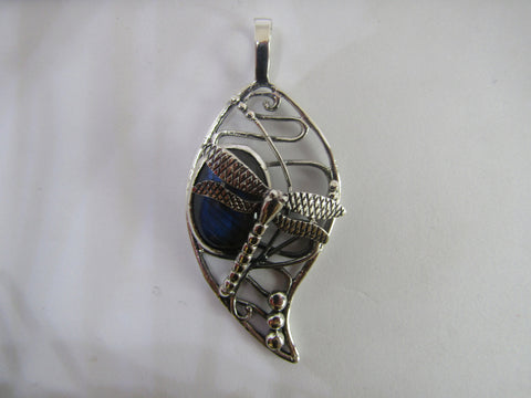 Bulrush Dragonfly Pendant with Labradorite