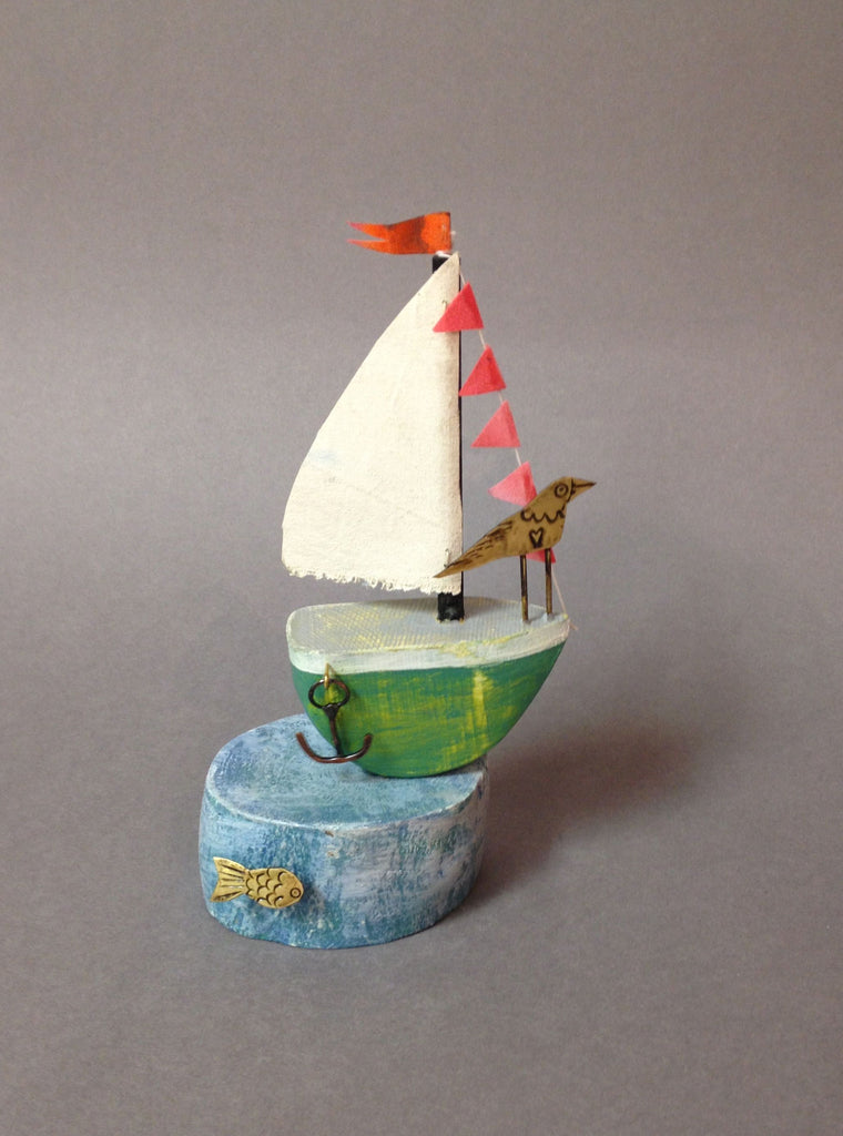 Green Sail Boat with Tern by Frances Noon