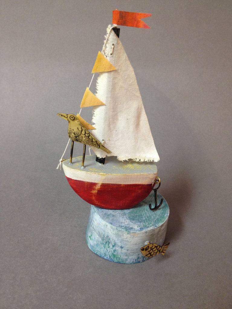 Red Sail Boat with Tern by Frances Noon