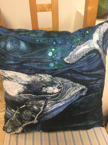 Whales - Cushion by Rachel Wright