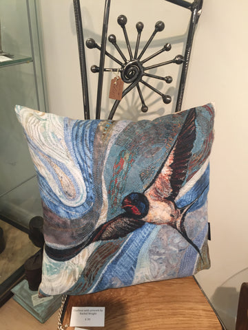 Swallow - Cushion by Rachel Wright