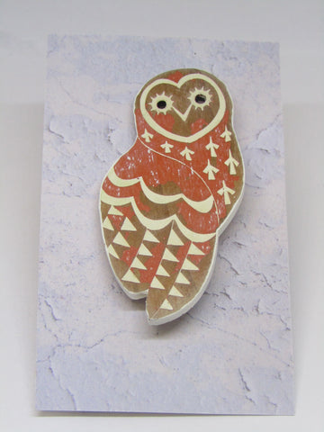 Orange Owl Brooch