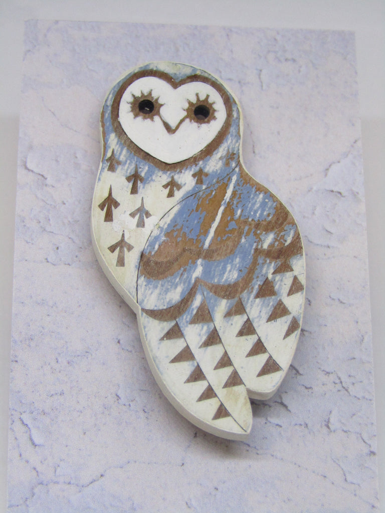 Owl Brooch with Cornflower Colouring by Sarah Kelly