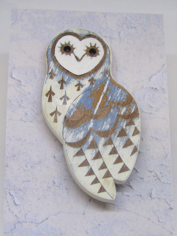 Owl Brooch with Cornflower Colouring