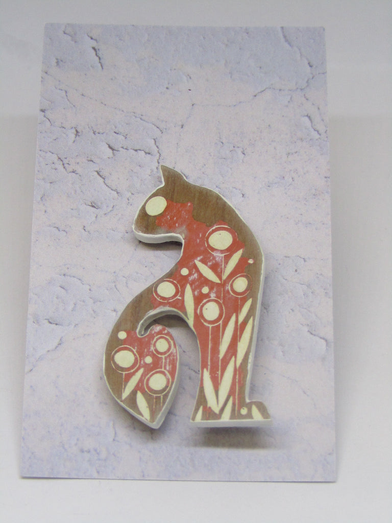 Cat Brooch with Orange Colouring by Sarah Kelly