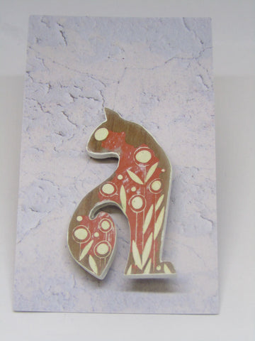 Cat Brooch with Orange Colouring
