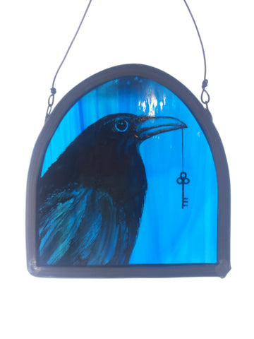 Crow and Key - Glass by Debra Eden
