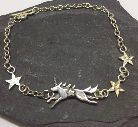 Unicorn & Stars Sterling Silver Bracelet by Jesa Marshall