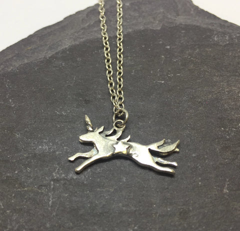 Sterling Silver Unicorn Necklace by Jesa Marshall
