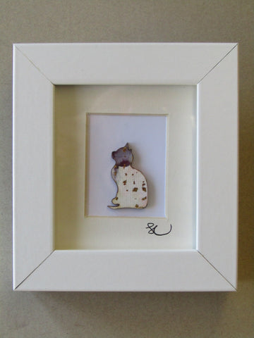 Grey & White Cat - Framed Assemblage