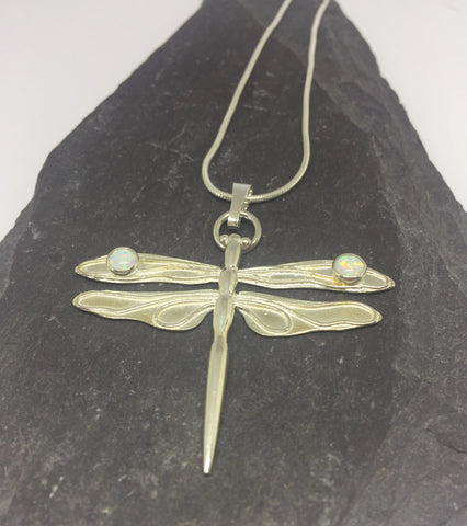 Silver Dragonfly Pendant with White Opals