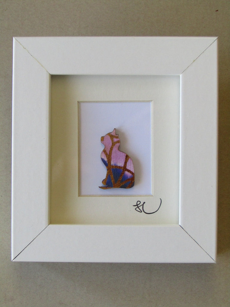 Pink Cat - Framed Assemblage by Sophie Court