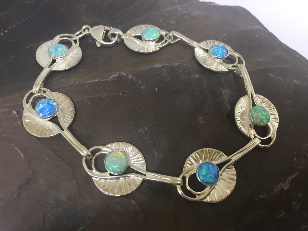 Silver Lily Pad Bracelet with Green & Blue Opals by David Weinberger (Lavan Jewellery)