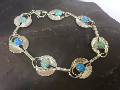 Silver Lily Pad Bracelet with Green & Blue Opals