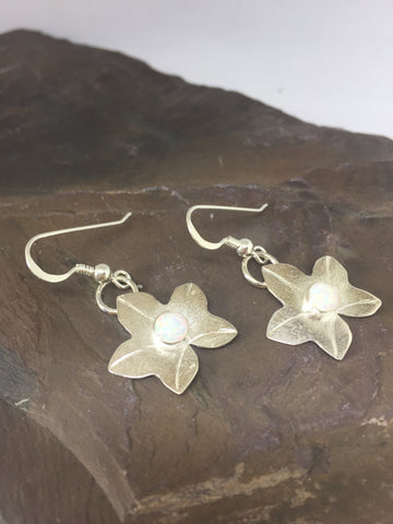 Ivy Leaf Drop Earrings with Opals