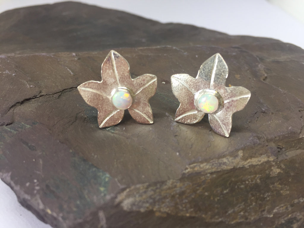 Ivy Leaf Stud Earrings with Opals