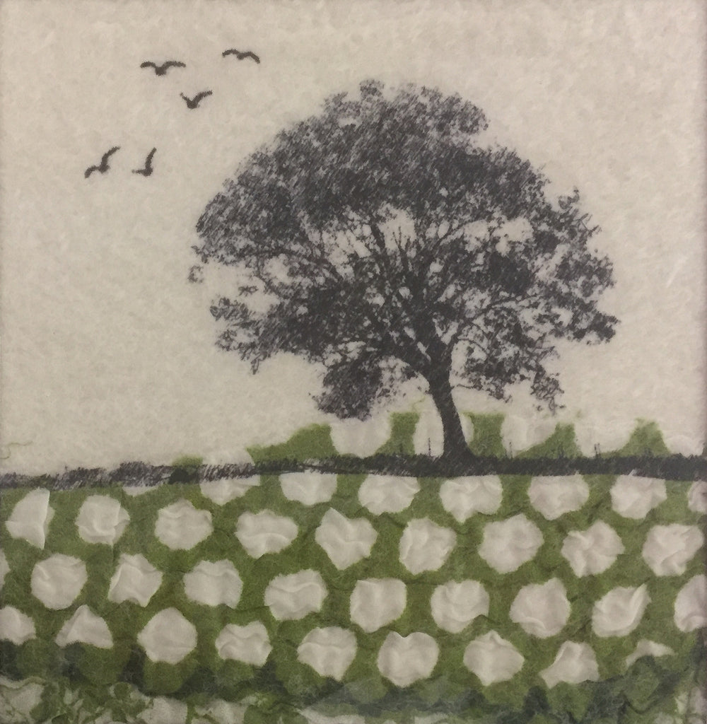 Tree & Birds - textile art by Lindsey Tyson